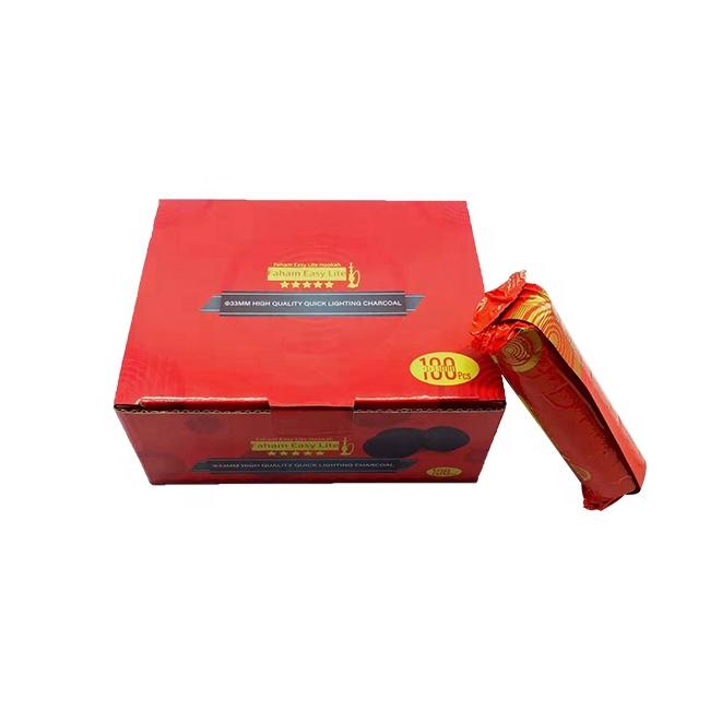 HQRM3301 HQ Golden Coal Fruit Wood Hookah Incense Flavor Round Charcoal