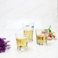 hot selling type high qhite material hexagon glass cup, 8oz shot glass cup for water drinking