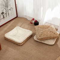 Japanese Style Handcrafted Weavng Padded Knitted Meditation Pad Seat Yoga Cushion Tatami Floor Cushion Square