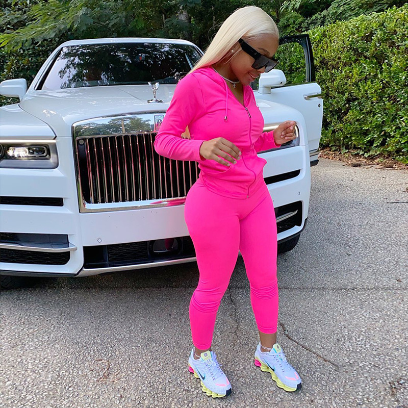 MXN Hot style new zipper front hoodies casual tracksuits jogger outfits two piece pant set 2020 fall fashion