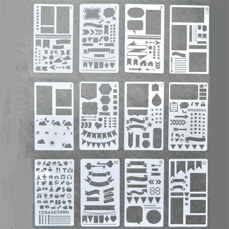 Wholesale hot sell plastic drawing stencils set for scrapbooking and decoration