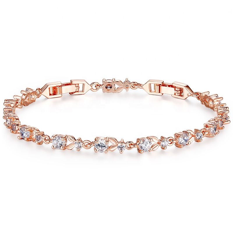 Rose Gold Color Chain Link Bracelet bangles for Women Ladies Shining Cubic Crystal Jewelry