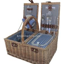 Handgemachte korb wicker lagerung picknick korb 4 person