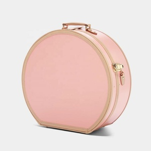 Stylish Pink Storage Hat Box Simple Leather Storage Packing Box