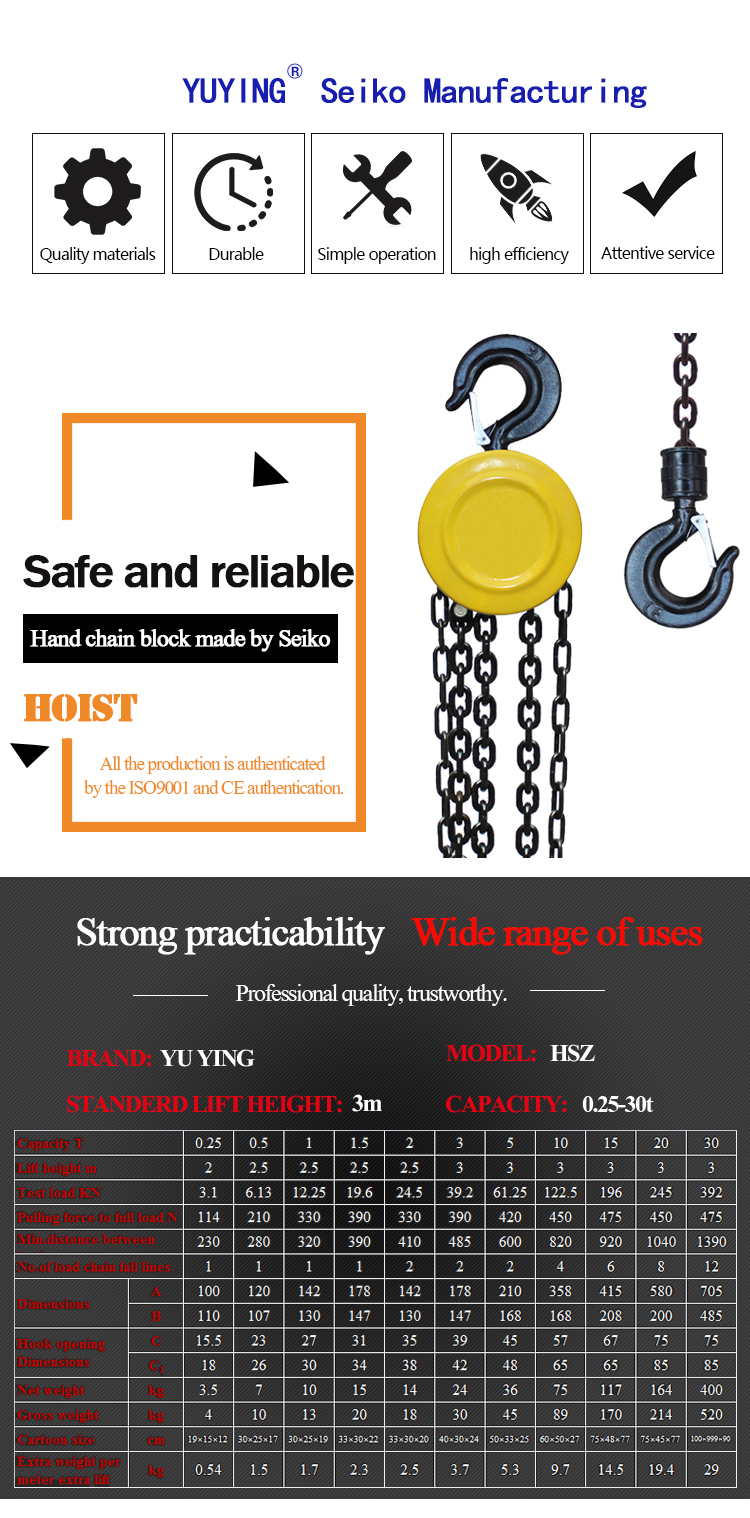 factory price 3T made in China chain block hook