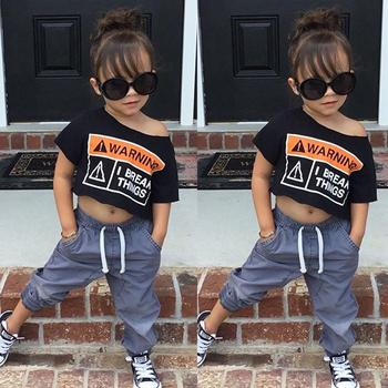 hot sale fashion child summer Kids letter shirt+pants baby girl boutique Clothing set