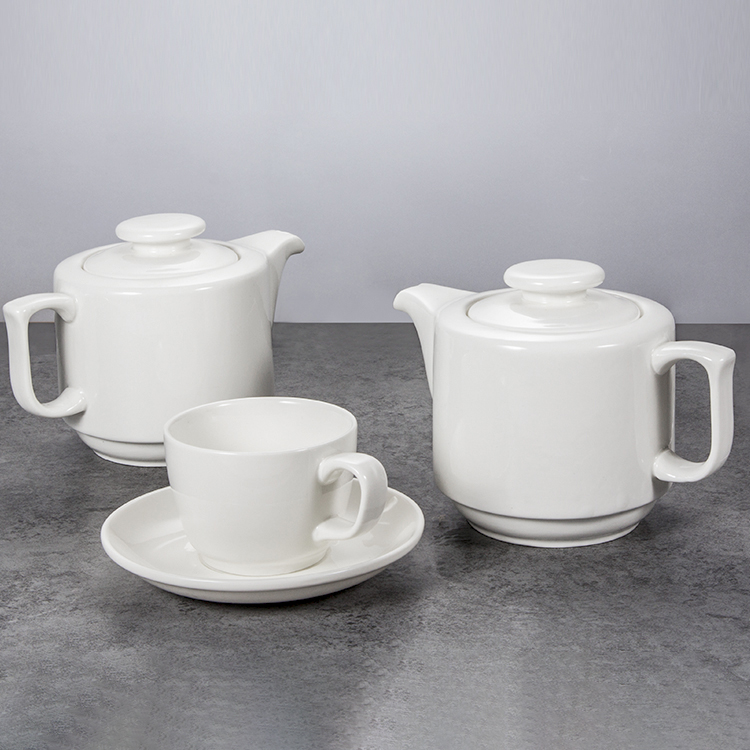 wholesale white restaurant catering banquet ceramic <strong>tea</strong> pot <strong>set</strong> <strong>porcelain</strong>