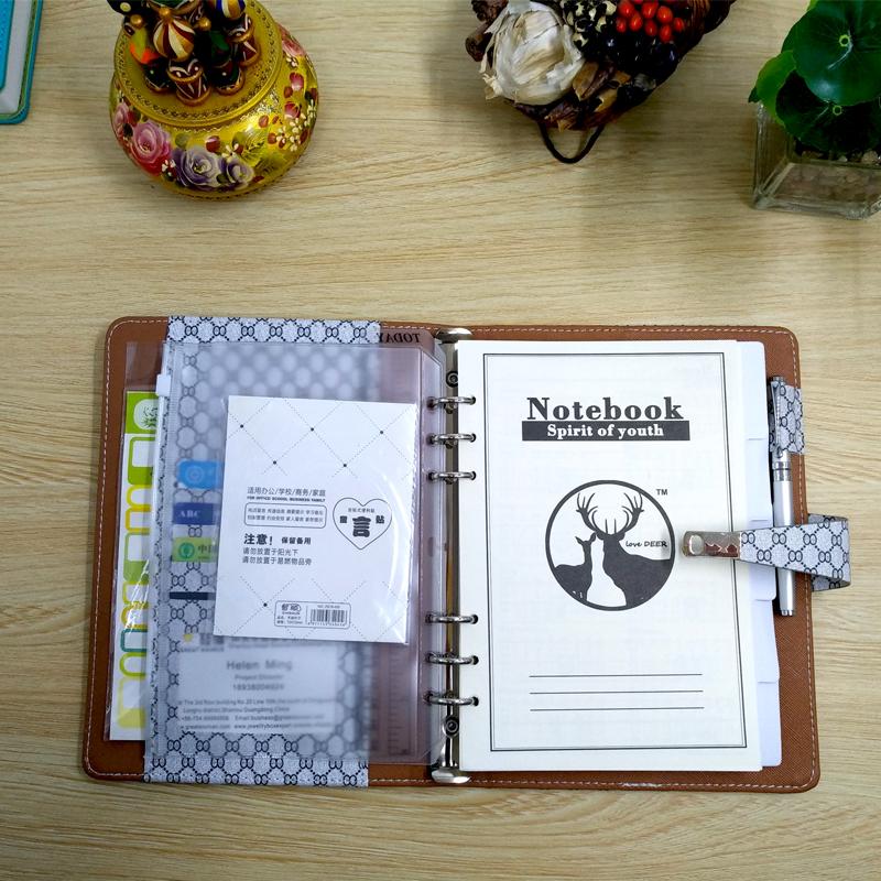 2020 планировщик кожаный чехол для записной книжки сменный блок 6 связующее кольцо блокнот 2020 календарь прозрачная ручка сумка цветная накле...(Китай)