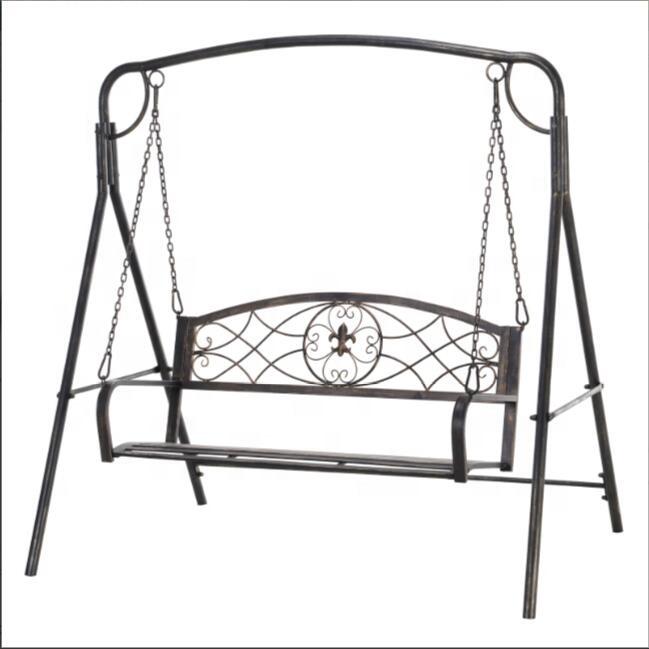 Wrought Iron Bronze 2-Seater Outdoor Garden Hanging Swing Chair