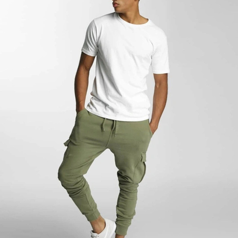 polyester cargo pants mens sweat pant fitted trouser bottom joggers