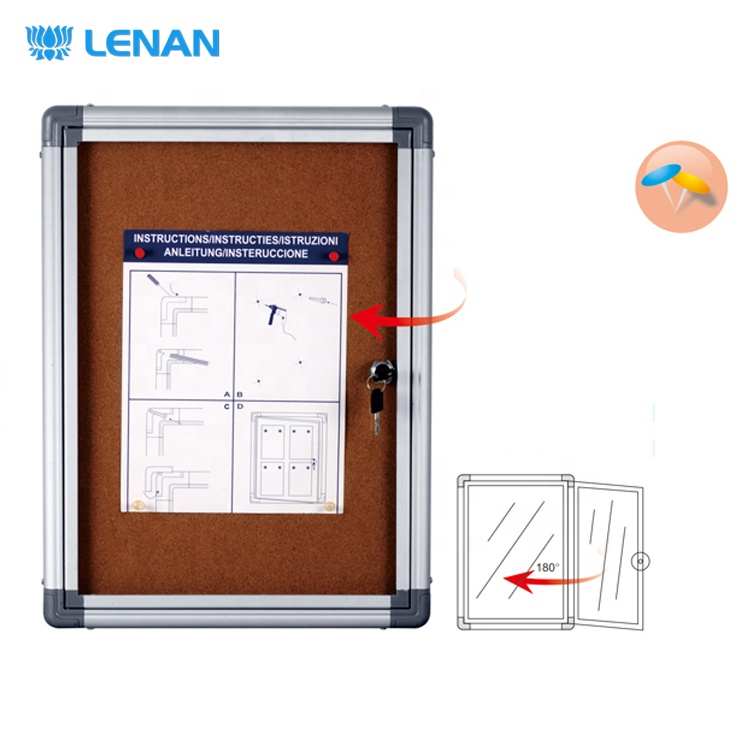 Standard cork enclosed wall mount lockable bulletin board sizes cabinet message notice board with aluminum frame