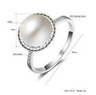elegant women silver engagement and wedding ring with big pearl