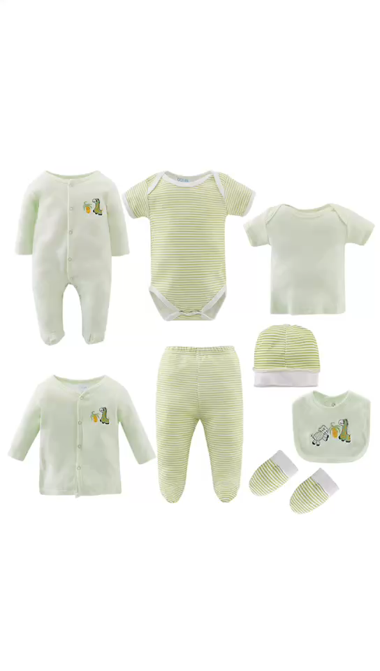 100% Cotton 8pcs Newborn Baby Clothes Baby Rompers Gift Set For Four Seasons