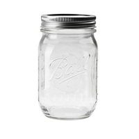 Custom Half Pint 16oz 500ml Screw Top Lid Pickel Salad Clear Glass Ball Mason Jar Wholesale