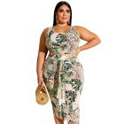 Green Leaf Print Bandhnu Sleeveless 2 Pieces Plus Size Casual Ladies Clothing Women Dress Suit