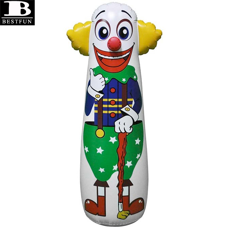 Thickened Vinyl Funny Inflatable Clown Punching Bag Durable Pvc