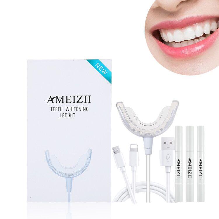 Özel Logo su geçirmez diş beyazlatma kiti 3 in 1 kablolu 16 LED diş beyazlatıcı lamba makinesi Blanqueamiento diş bakımı temizleyici