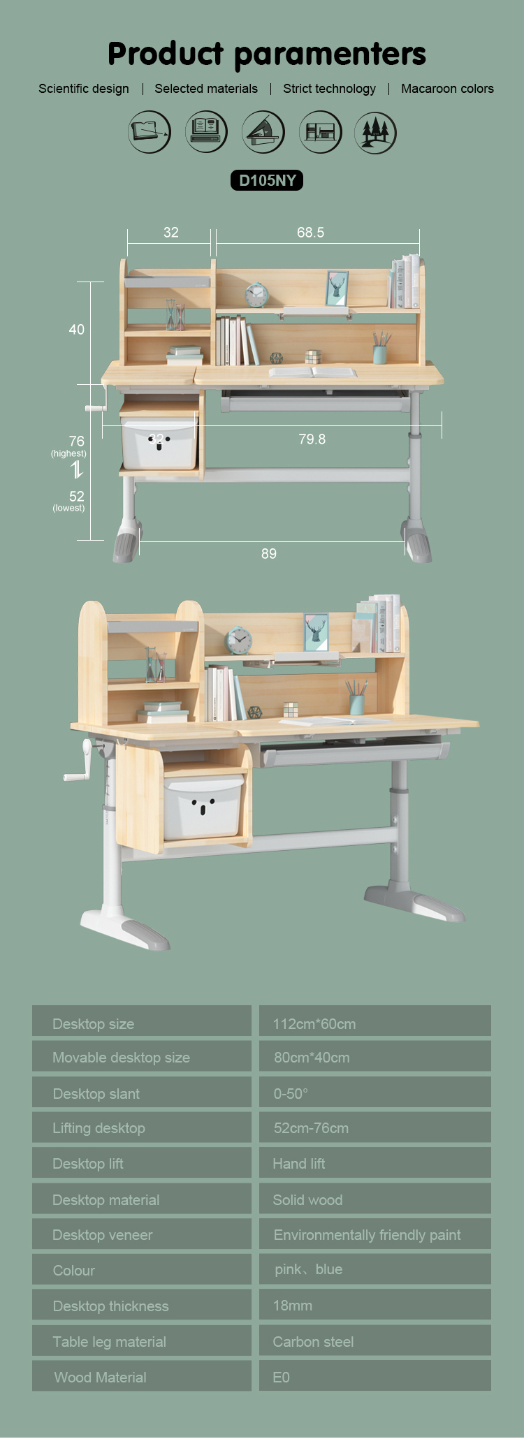 IGROW multifunction children adjustable single desk child wooden desk