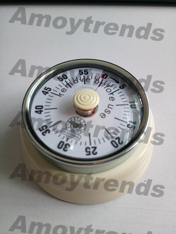 60 min Personalized Round Red metal retro dial kitchen timer with magnet