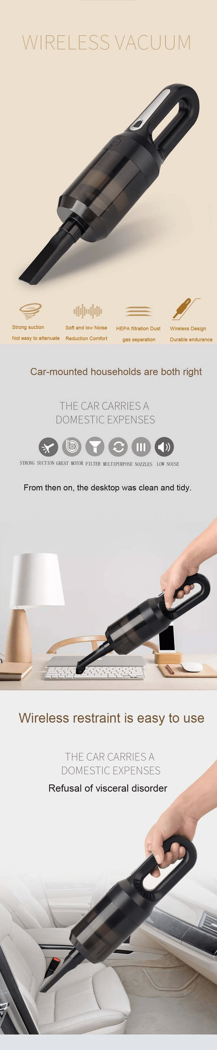 Customized Packaging Cyclone Home House Office Portable Wireless Cordless Handheld Car Mini Vacuum Cleaner
