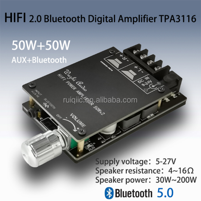 Hi Fi Wireless Bluetooth 5.0 Digital Power Audio Amplifier Papan TPA3116D2 50WX2 Stereo Amp