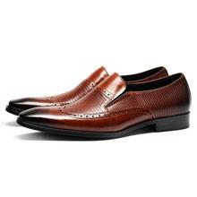Мужская обувь с перфорацией типа «броги» из натуральной кожи; деловая модельная обувь для банкета; мужские брендовые свадебные туфли оксфо...(Китай)