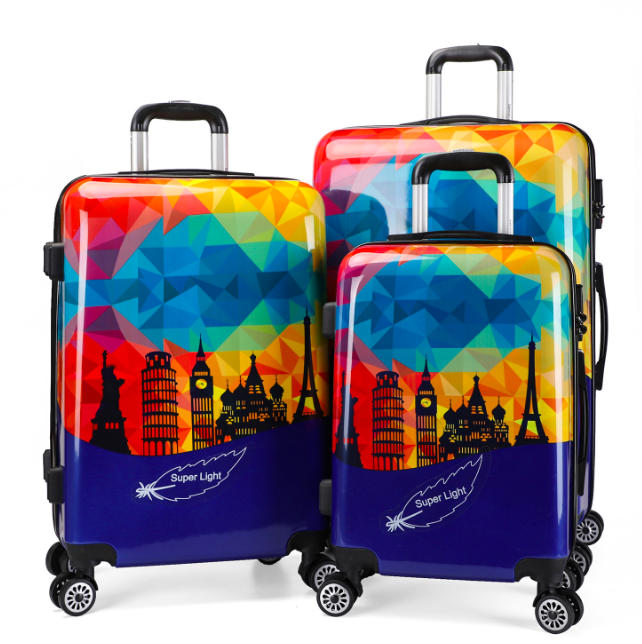 colorful printed pure pc trolley cases aluminum frame luggage bag travel suitcase