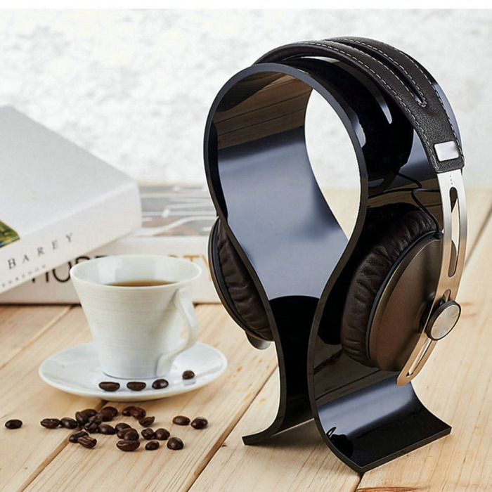 Universal U-shaped headphone stand, <strong>acrylic</strong> and transparent glass headphone stand