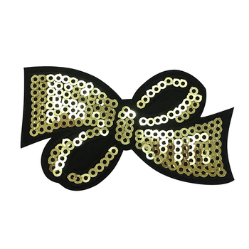 Custom gold shining bow design iron on sequin bow patches for Girl's Clothes