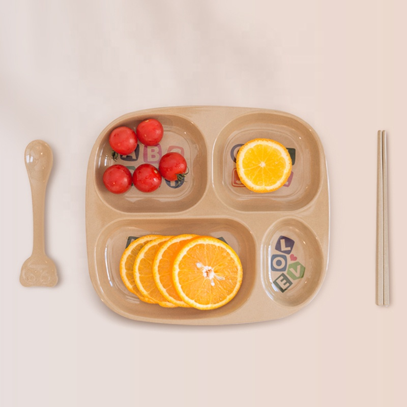 Unbreakable Divided <strong>Plate</strong> with 4 Sections Lightweight Smooth Lunch Dinner Food Tray for <strong>Kids</strong> and Adult Microwave Dishwasher Safe