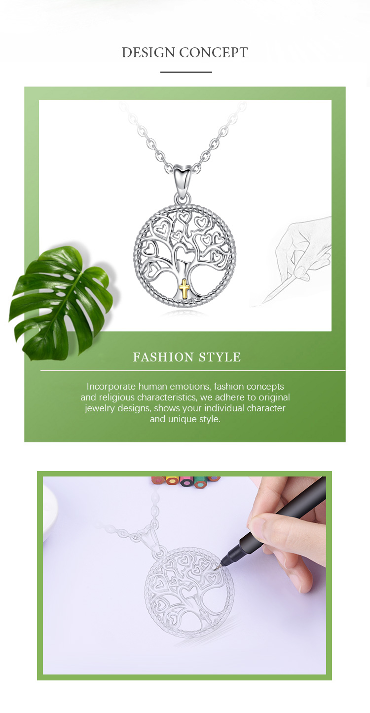 925 Sterling Silver Cross Family Tree of Life Symbol Round Necklace Pendant for Women