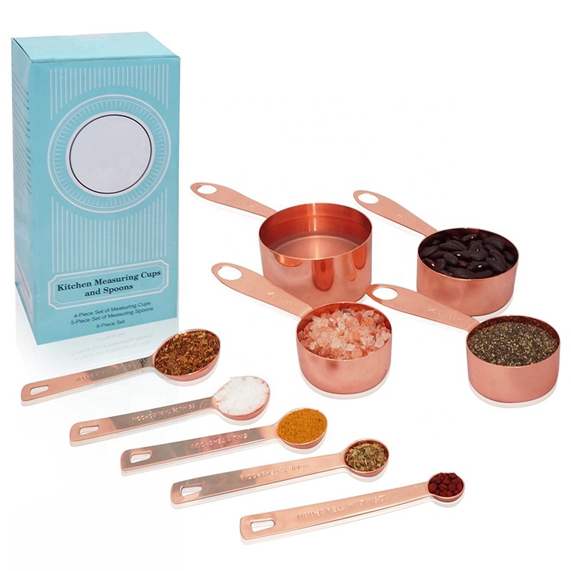 4 Pcs <strong>Measuring</strong> Cup 5 Pcs <strong>Measuring</strong> <strong>Spoon</strong> 9 pcs Copper Plated Rose Gold Bakeware Stainless Steel <strong>Measuring</strong> Cups and <strong>Spoons</strong>
