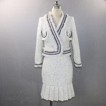 Женский твидовый костюм, подиумный брендовый шерстяной короткий пиджак, Блейзер, плиссированная юбка с высокой талией, комплект из двух пре...(Китай)