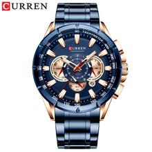 Мужские деловые часы CURREN, мужской роскошный бренд часов из нержавеющей стали, наручные часы с секундомером, армейские кварцевые часы(Китай)