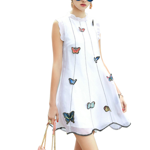 2020 new arrivals in-stock summer fashion butterfly embroidered lace stand collar sleeveless sexy dresses women lady elegant