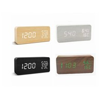 Display time indoor temperature time and humidity LED Digital Desk Wooden alarm clock