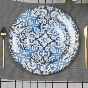 antique dinnerware sets fine bone china blue and white pattern dinner plates sets with gold rim