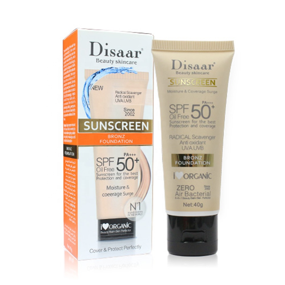 Disaar SPF 50 sun protection anti aging moisturizer organic <strong>sunscreen</strong> cream for all skin