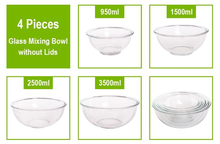 High borosilicate glass salad maker bowl with lid