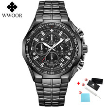 WWOOR мужские часы, лучший бренд, роскошные черные спортивные часы с хронографом, мужские Модные кварцевые наручные часы с большим циферблато...(Китай)