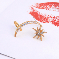 me00226 Star Moon Copper Zircon 925 Silver Post Gold/Gun Metal Color Asymmetric Unmatched Ear Cuff Earrings
