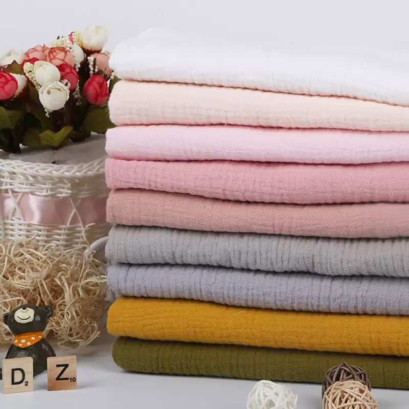 high quality double layers 100% cotton crinkled gauze muslin fabric for pajama clothes and swaddles