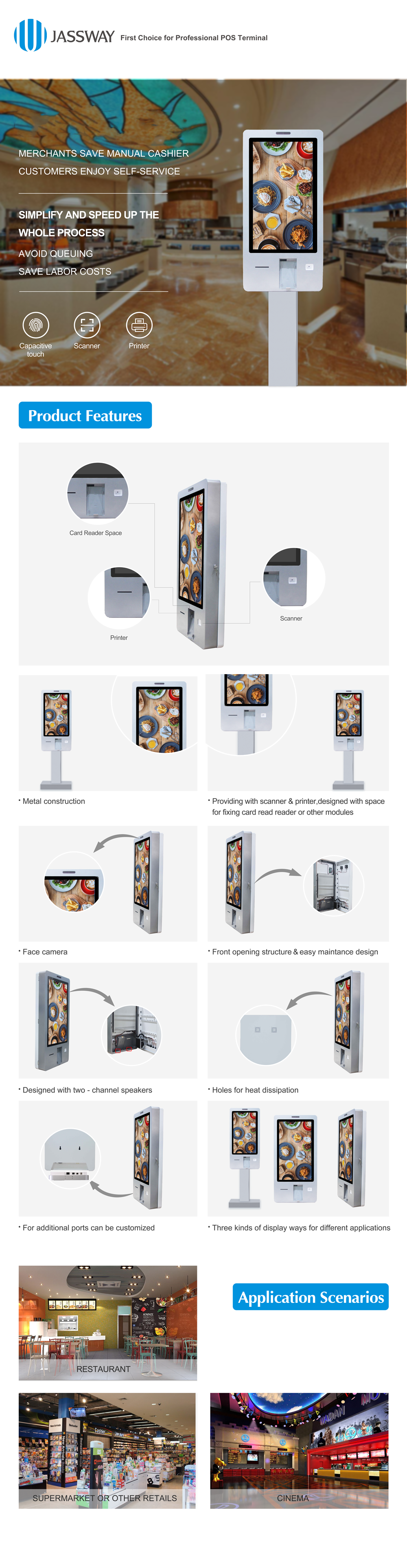 21.5 inch touch screen kiosk  for retails payment kiosk   self-order machine