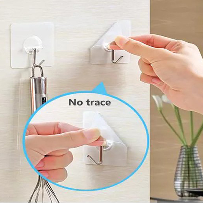 Durable PVC Stainless Steel Transparent Adhesive Sticky Wall Hook