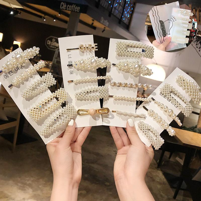 Ins Fashion 1Set Women Girls Elegant Pearls Clips Sweet Headwear Ornament Hairpins Barrettes Headband Hair Accessories