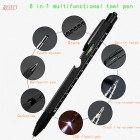 Ballpoint Pen Stylus 8 in 1 Metal Ball Pen with Stylus Touch Pen Ruler Screw Driver Bottle Opener Multi-functional Pen-B-8218