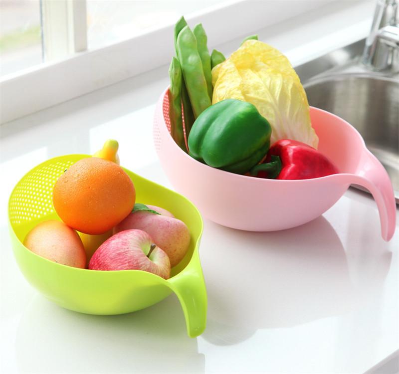 Keuken Accessoires Rijst Kom Afvoer Mand Fruitschaal Wassen Afvoer Mand Met Handvat Wassen Mand Thuis Keuken Organizer