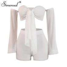 Simenual, сексуальный Модный женский комплект из 2 предметов, неоновый бант, открытая одежда, короткий топ с длинным рукавом и шорты(Китай)