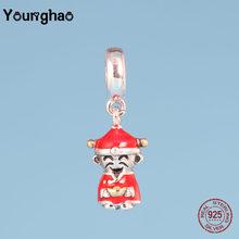 Younghao, Аутентичные 100% 925 пробы, Серебряные Элегантные Подвески, бусины с надписью матери, подходят для браслетов Pandora, хорошее ювелирное издел...(Китай)