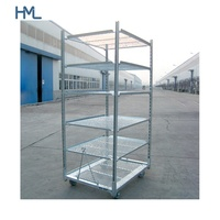 Chinese supplier wire mesh shelf flower greenhouse transport metal rolling plant shipping racks